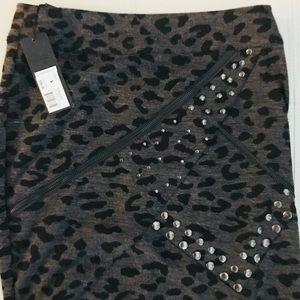 Black/gray cheetah print skirt with metal details